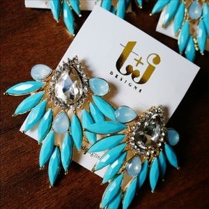 T&J Designs Jewelry - New Crystal Feather Drop Earrings Pink Or Blue